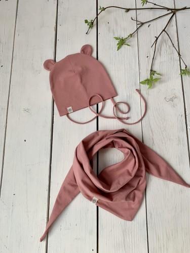 Kepurytė su meškio ausytėm ir šalikas