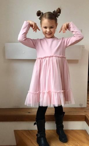 Suknelė mergaitėms su tiuliniu sijonuku be užsegimo