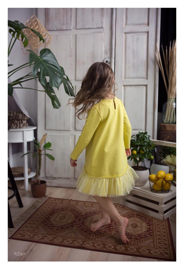 Citrininė mergaitiška suknelė