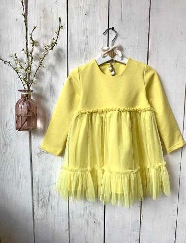 Citrininė mergaitiška suknelė su tiuliniu sijonuku