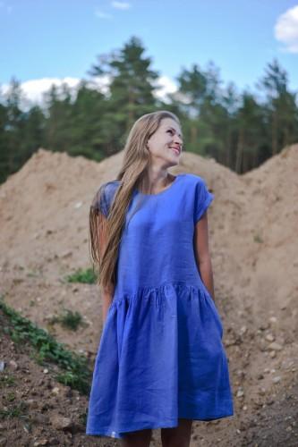 """Lininė suknelė """"Lino žiedų mėlyna"""""""