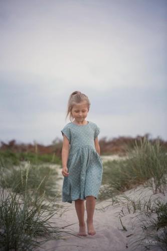 """Lininė vaikiška suknelė """"Mėtiniai žirniukai"""""""